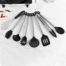 8PCS Silicone Kitchenware Set Stainless Steel Handle Simple Cooking Tool High Temperature Resistan
