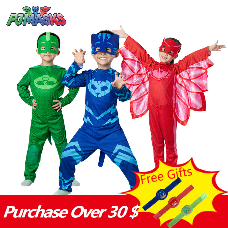 PJ Masks Toys Children Christmas Halloween Cosplay Costume Pj Mask Catboy Gekko Owlette Birthday Party Clothes Kids Gifts
