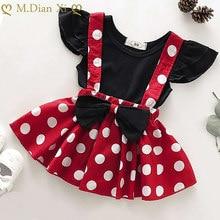 Ensembles de vêtements pour bébés filles de 0 à 3 ans, 2 pièces T-shirt + jupe, ensembles de vêtements de dessin animé Minnie pour nouveau-nés