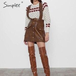 Image 2 - Simplee נשים פו עור שמלת Streetwear PU רך בעלי החיים הדפסת סרבל סתיו שמלת סרבל גבוה מותניים גברת רצועת מיני שמלה