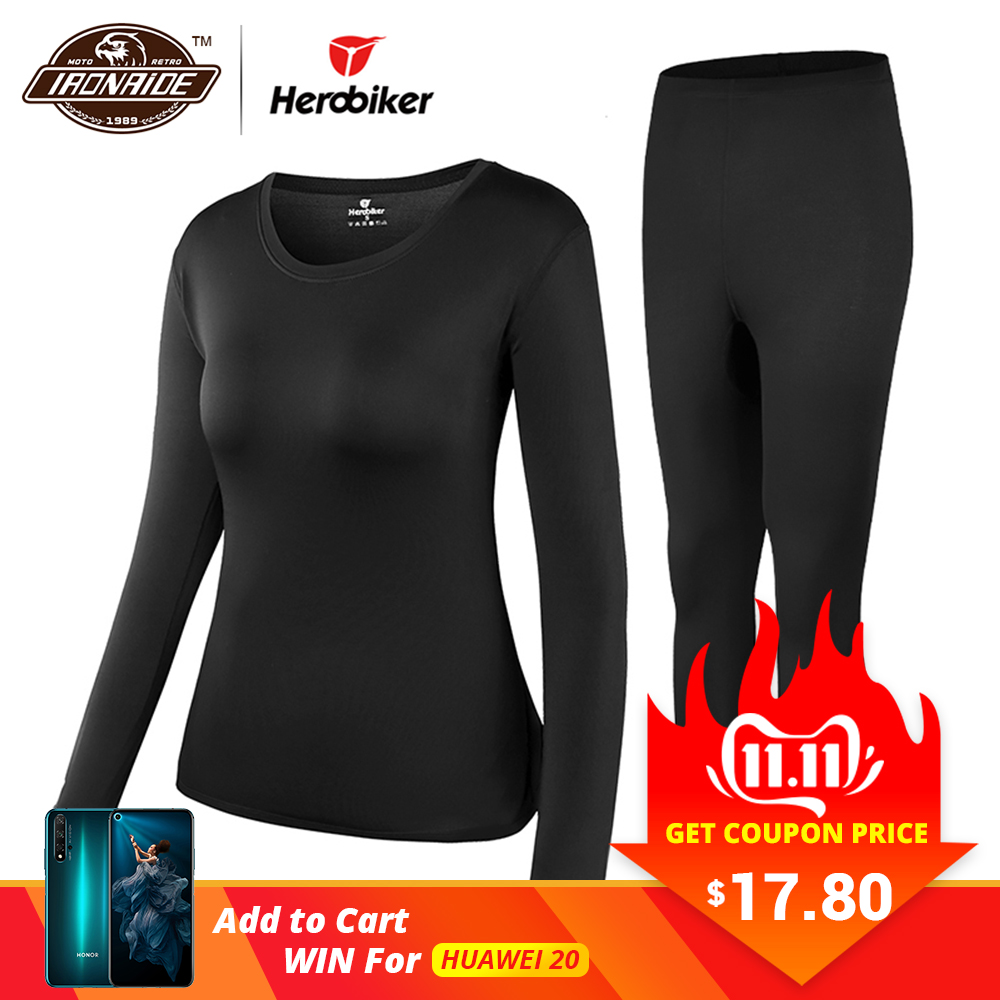 Herobiker feminino velo forrado conjunto de roupa interior térmica inverno elástico motocicleta esqui quente longo johns camisas & topos terno inferior