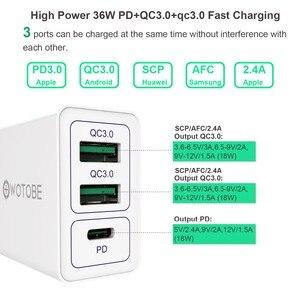 Адаптер питания для iPhone11/iPad/pixel/S8/S9/S10/note9/Huawei/Millet, с 2 портами QC3.0/FCP/AFC,1 портом PD3.0 и быстрой настенной зарядкой, 36 Вт