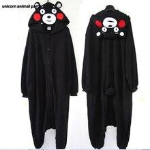 Kigurumi Cartoon Animal Black Kumamon Bear Onesie Unisex Adult Pajamas Cosplay Costumes Pyjamas  Sleepsuit Sleepwear