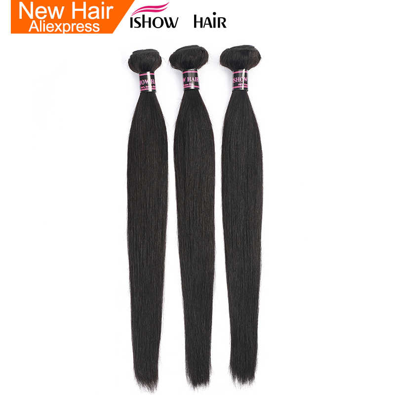 Ishow Straight Hair 3 Bundles Indian Human Hair Weave Extensions 100% Human Hair Bundles Non Remy Natural Hair