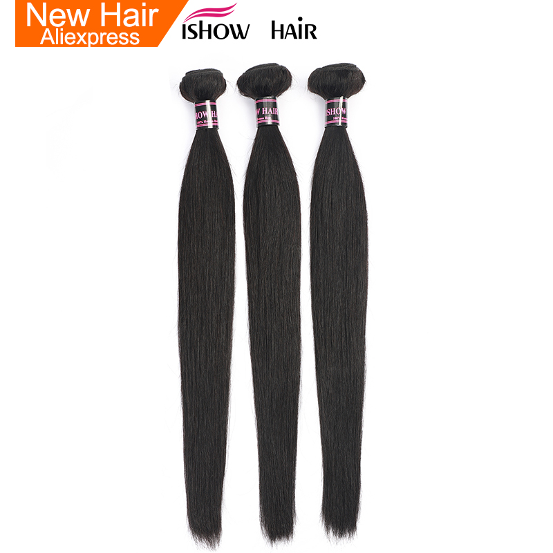 Ishow Straight Hair 3 Bundles Indian Human Hair Weave Extensions 100% Human Hair Bundles Non Remy Natural Hair-in 3/4 Bundles from Hair Extensions & Wigs    1