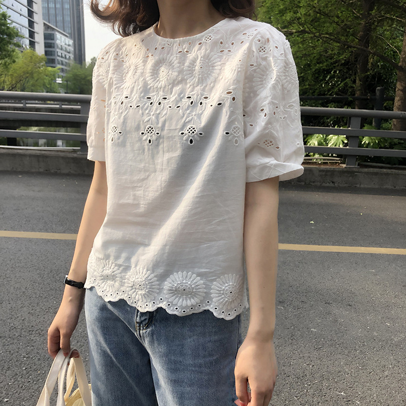 Summer Women Sweet White Lace Hollow Out Shirt Casual Cotton Short Puff Sleeve Straight Solid O-neck Loose Korean Top