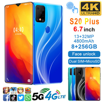 S20Plus 6.7inch Smartphone 8GB RAM 256GB ROM Snapdragon 855 Android Cellphone Dual SIM Mobile Phone Cell Smart Phones Free Shipp