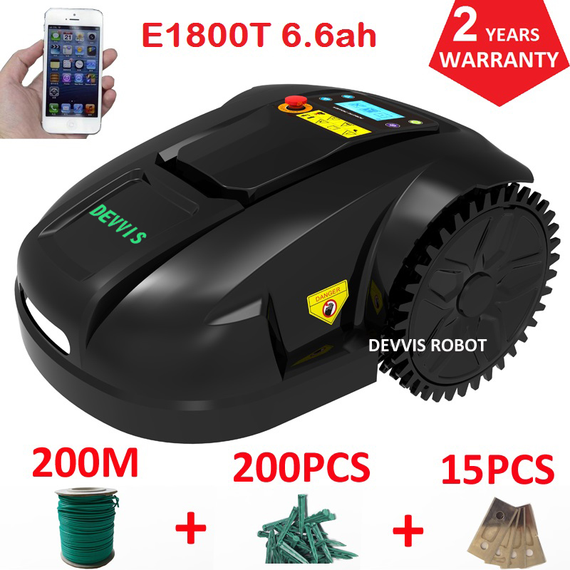 Espagne entrepôt pas de taxe DEVVIS jardin tondeuse à gazon Robot tondeuse à gazon E1800T avec batterie au lithium 6.6ah pour pelouse moyenne