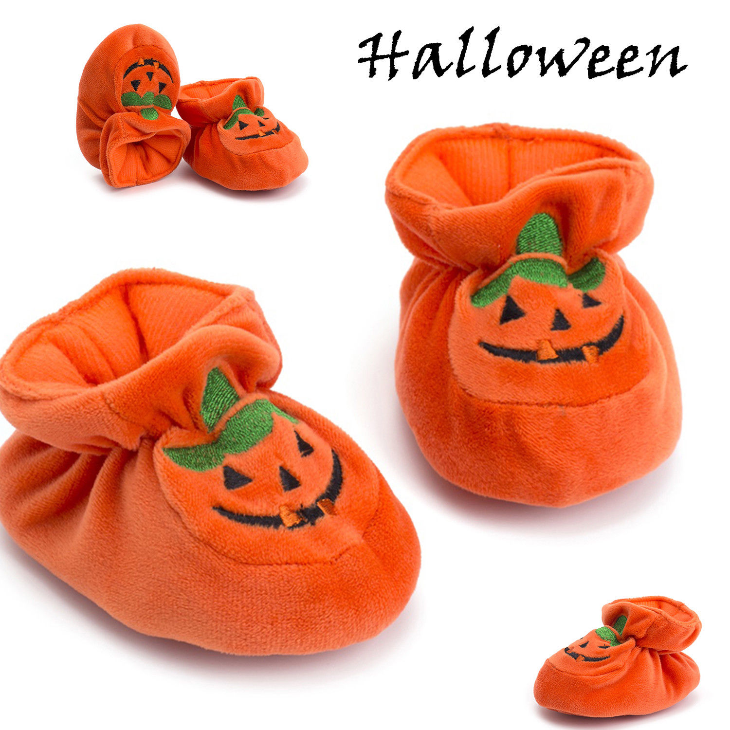 Halloween Pumpkin Pretty Toddler Baby Girls Boys Casual Crib Shoes 0-18M Cotton Print Elastic Waist Soft Shoes