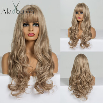 ALAN EATON Long Wavy Wigs for Black Women African American Synthetic Hair Light Brown with Bangs Heat Resistant Cosplay - discount item  34% OFF Synthetic Hair