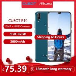 Смартфон Cubot R19 5,71 дюйм19:9 Waterdrop полный экран, 3 Гб + 32 ГБ Android 9,0 Pie MT6761(Helio A22) Задняя Двойная камера 13МП распознавание лица 4G LTE Телефон 2800мАч