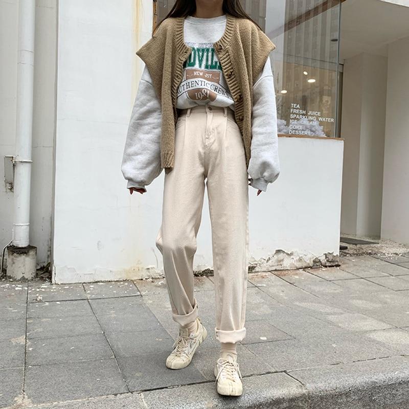 High Waist Straight Jeans For Women Slim Elastic Plus Size Stretch Jeans Beige Plus Size Streetwear Denim Blue Female Pant