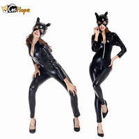 Catwoman Costume Adult Catsuit Mask Sexy Black Bodysuit Jumpsuit Women Suit Carnival Halloween Cosplay for Women