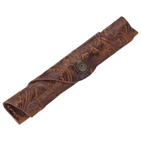 Handmade Leather Fountain Pen Sleeve Roll Wrap Pen Pouch for Students and Artists