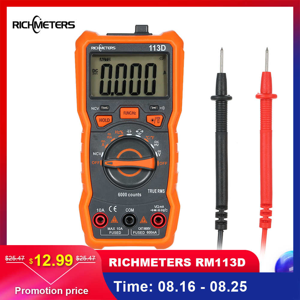 RICHMETERS Multimeter RM113D NCV Digital Multimeter 6000 Counts Auto Ranging AC/DC Voltage Temperature Measuring Meter Backlight