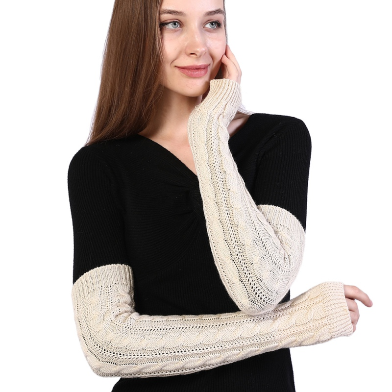 Women Autumn Winter Half-finger Wool Gloves Long Twist Knit Warm Arm Cover New