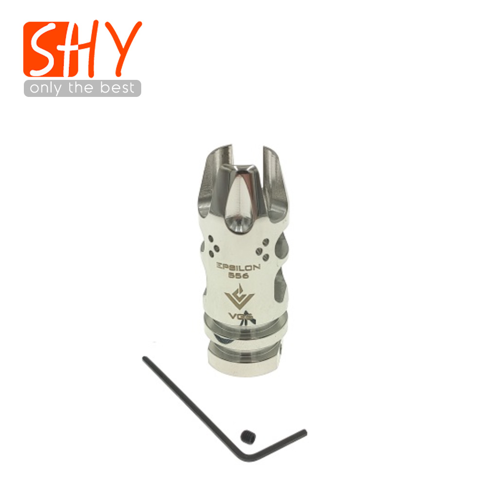 14MM CCW Thread Metal Stainless Steel EPSILON 556 VG6 Flash Hider NO Function Muzzle Device For Toy Gel Ball Blaster AEG Airsoft