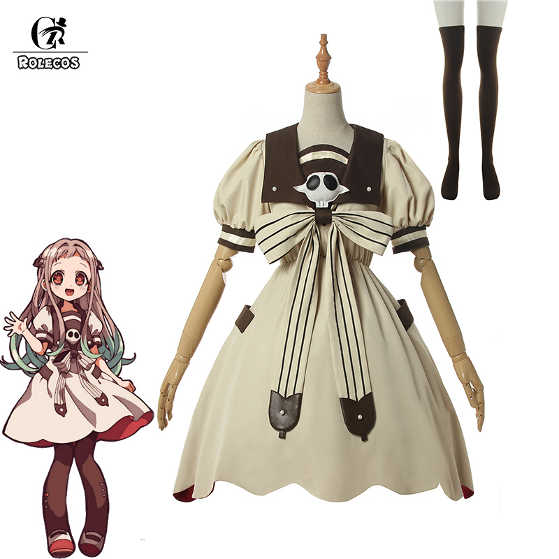 ROLECOS Anime Toilet-bound Hanako-kun Cosplay Costume Yashiro Nene Lolita Dress Jibaku Shounen Hanako-kun Cos Women Dress Sock
