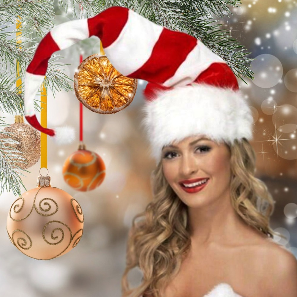 Christmas Cap Plush Xmas Red Cap Santa Stripe Hat for Christmas Party (6)