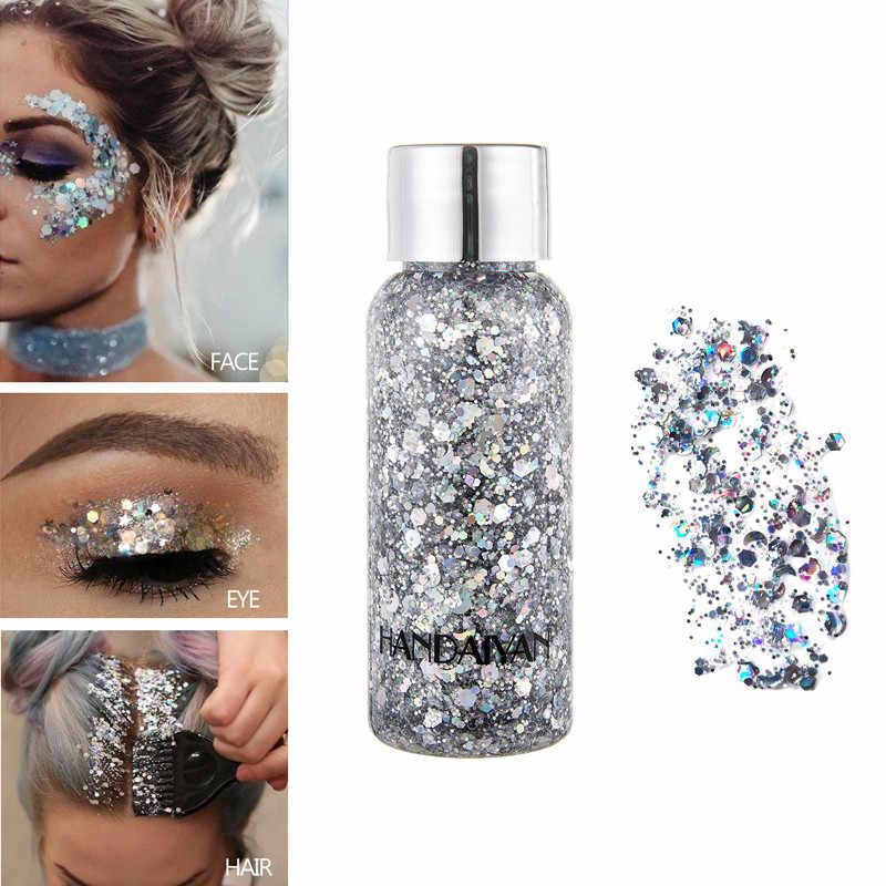9 สี Glitter เจลครีมอายแชโดว์ง่ายแต่งหน้าสีผม Face Eye Glitter Pigment Cream เทศกาลตกแต่ง