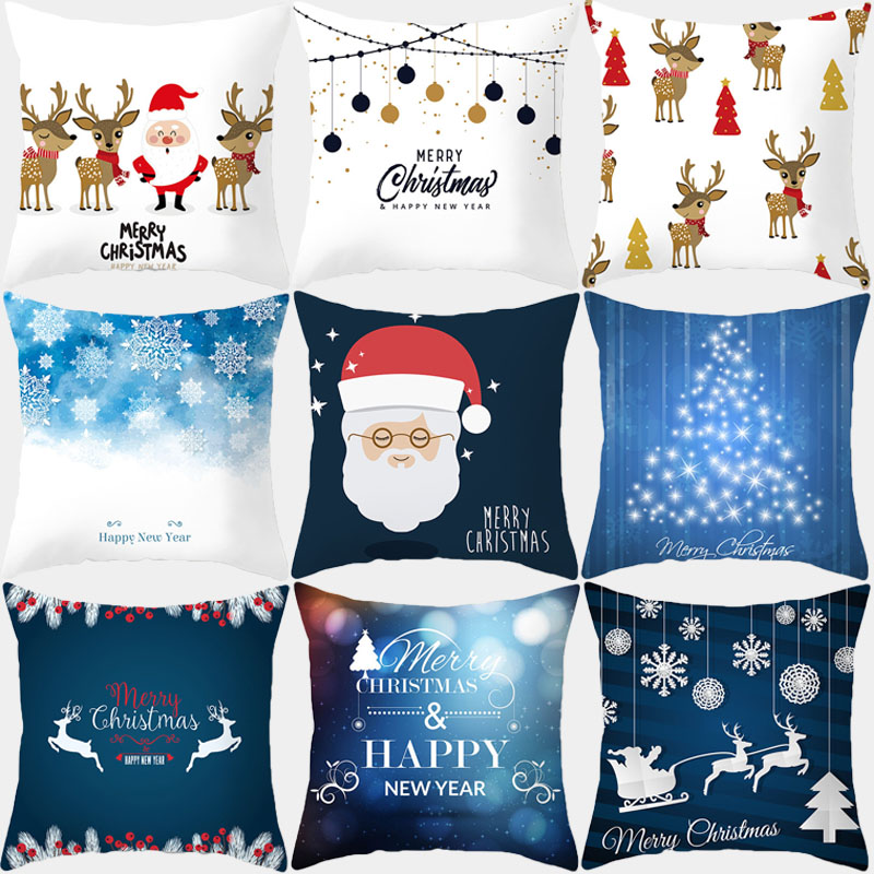 Pillow Cover Christmas Cushion Cover 45*45 Merry Christmas Sofa Decorative Throw Pillow Polyester Home Decoration Pillowcase