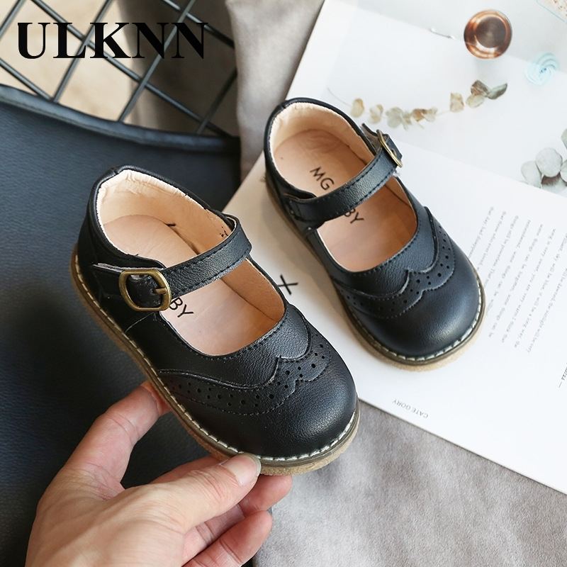 ULKNN New Grils Leather Shoes Casual Girls Autumn Winter Kids Pu Show White Shoes Children's  Black Pink size 21-30 Flats