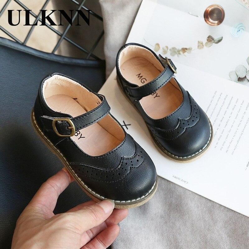 ULKNN nowe Grils skórzane buty na co dzień dziewczyny jesień zima dzieci Pu pokaż białe buty dziecięce czarny różowy rozmiar 21-30 mieszkania