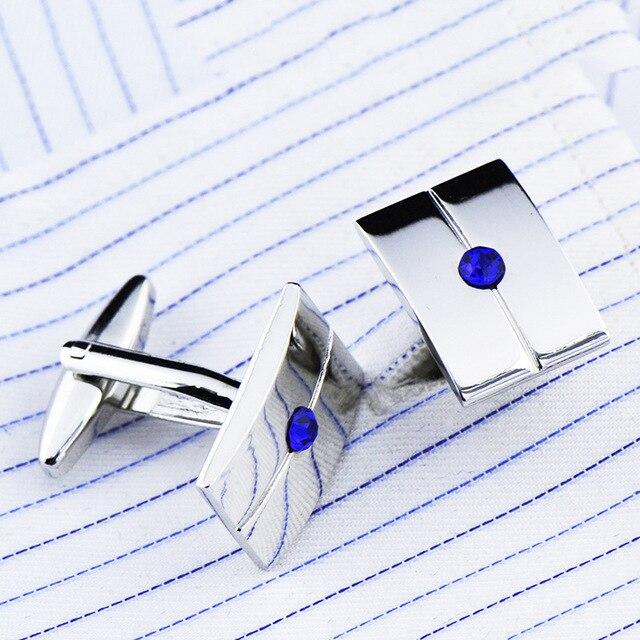 French Middle Blue Crystal Zircon Cufflinks 1