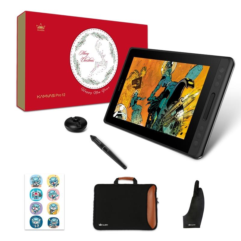 Huion kamvas pro 12 pacote de presente de natal caneta tablet monitor de arte gráficos desenho caneta display monitor de inclinação 60 bateria livre emrTablets digitais   -