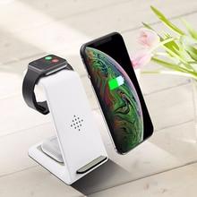 10w carga rápida 3 em 1 doca de carregamento sem fio para apple iphone 12 11 pro 8 plus qi draadloze oplader para iwatch airpods pro