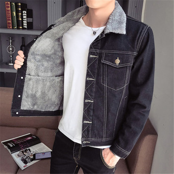 Denim jacket Men 2019 Men's Plus Velvet Denim Overalls jacket Casual Black Long sleeve Thick jacket More sizes M-5XL