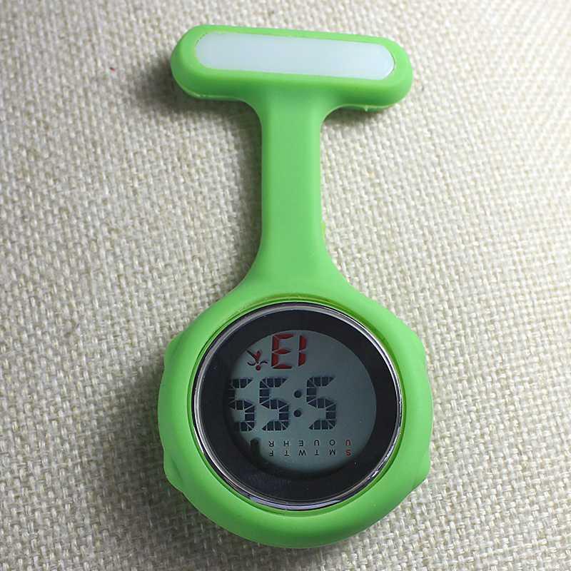 Часы для медсестры карманные часы силиконовые электронные светящиеся календарь желе часы модный тренд - Цвет: Зеленый