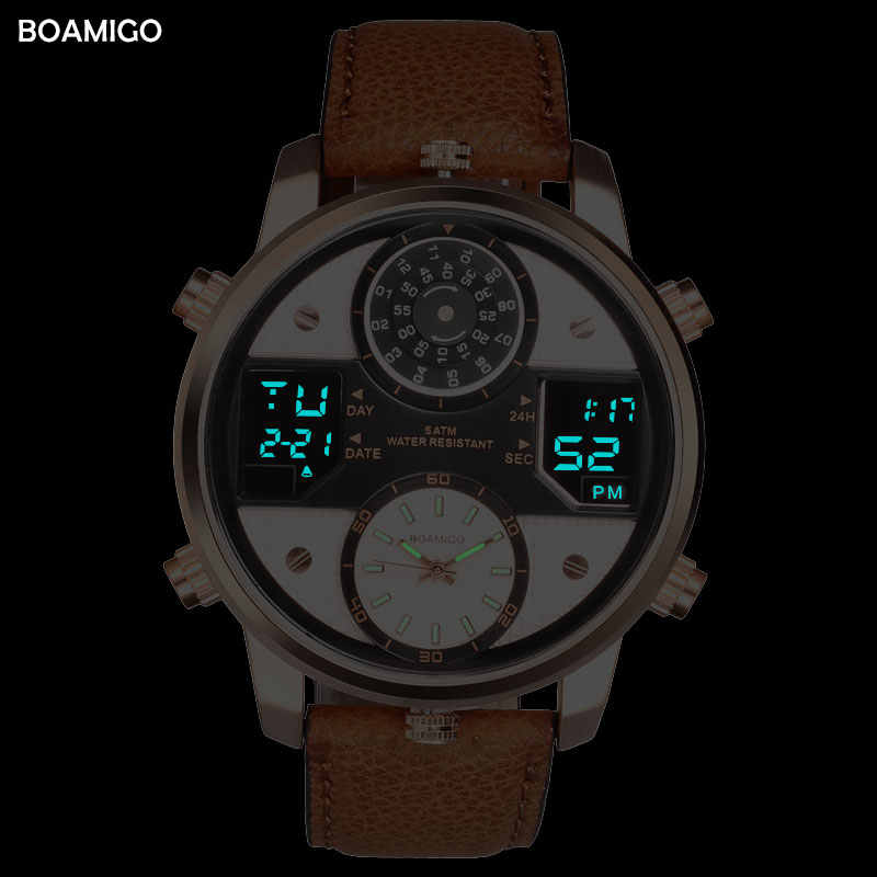 الرجال ساعات كوارتز 3 المنطقة الزمنية ساعة BOAMIGO LED الساعات الرياضية الرقمية الذكور الجلود ساعات المعصم رجل ساعة Relogio Masculino