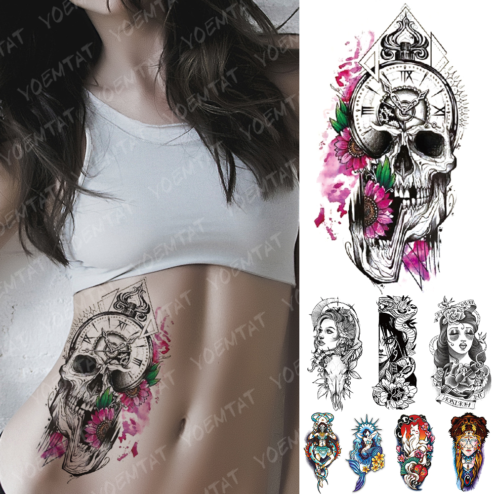 Waterproof Temporary Tattoo Sticker Daisy Clock Skull Flash Tattoos Mermaid Fox Demon Body Art Arm Fake Sleeve Tatoo Women Men