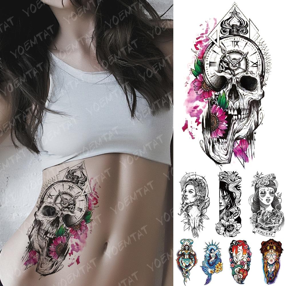 Waterproof Temporary Tattoo Sticker Daisy Clock Skull Flash Tattoos Mermaid Fox Demon Body Art Arm Fake Sleeve Tatoo Women Men