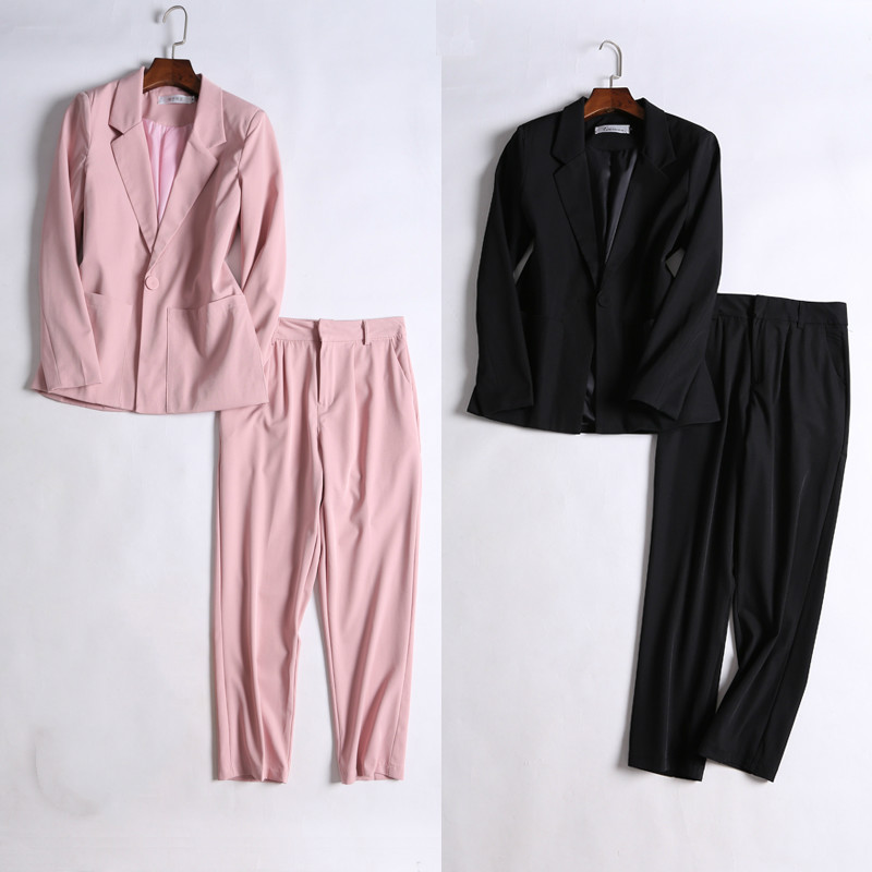Early autumn new women's suits Temperament high quality long sleeve pink blazer female Casual pants suit 2019 ladies two-piece