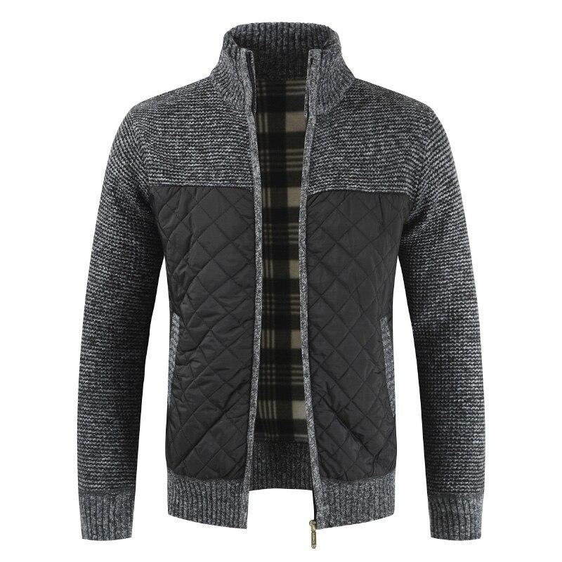 Laamei Autumn Winter Sweater Coat Men Solid Patchwork Thick Fleece Cardigan Men Casual Stand Collar Sweater Jackets Men Coats
