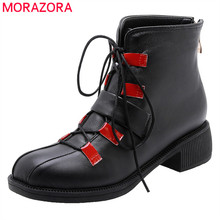MORAZORA 2020 nouvelle mode moto bottes pu bout rond à lacets automne chaussures décontractées boucle fermeture éclair confortable bottines pour les femmes