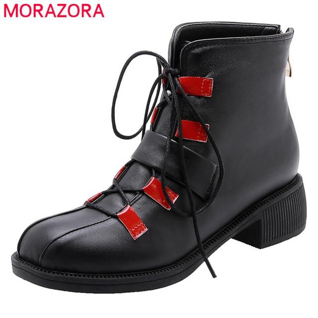 MORAZORA 2020 חדש אופנה אופנוע מגפי pu בוהן עגול תחרה עד סתיו נעליים יומיומיות אבזם zip נוח קרסול מגפי נשים