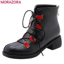 Morazora 2020 Nieuwe Mode Motorlaarzen Pu Ronde Neus Lace Up Herfst Casual Schoenen Gesp Zip Comfortabele Enkellaarsjes Voor vrouwen