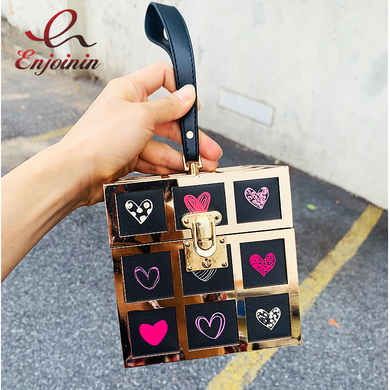 Metal Square Design Heart-shaped Cartoon Pattern Fashion Women Party Clutch Bag Purses And Handbags Tote Bag Ladies Evening Bag