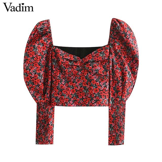 Vadim women retro floral print crop top V neck puff sleeve stretchy short blouse female vintage chic shirt blusas LB535 1