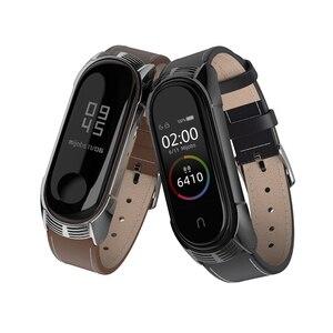 Image 4 - Correa de piel para Xiaomi Mi Band 5, correa de piel auténtica para pulsera inteligente Mi Band 3 y Mi Band 5