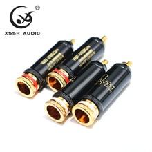 4 stücke 8 stücke XSSH audio Jack Hallo end 0102Cu HIFI DIY Überzug Gold Audio Video Anschlüsse TV Tuner RCA Stecker Stecker