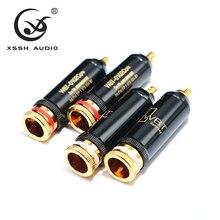 4Pcs 8Pcs Xssh Audio Jack Hi End 0102Cu Hifi Diy Gold Audio Video Connectors Tv Tuner rca Plug Stekkers