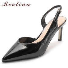 Meotina High Heels Women Pumps Patent Leather Stiletto High Heels Slingbacks Shoes Buckle Pointed Toe Office Lady Shoes Size 39 women pumps office suede lady stiletto extreme high heels solid women shoes pink fashion pointed toe high heels ladies shoes