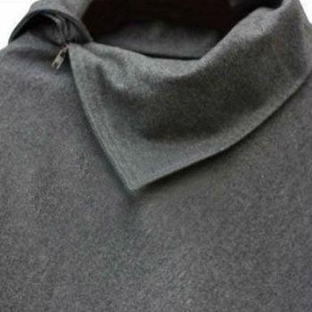 4 Colors Women Coat Poncho Autumn Winter Casual Overcoat Zipper Loose Pullover Cloak Sweater Cape Outwear hc 8