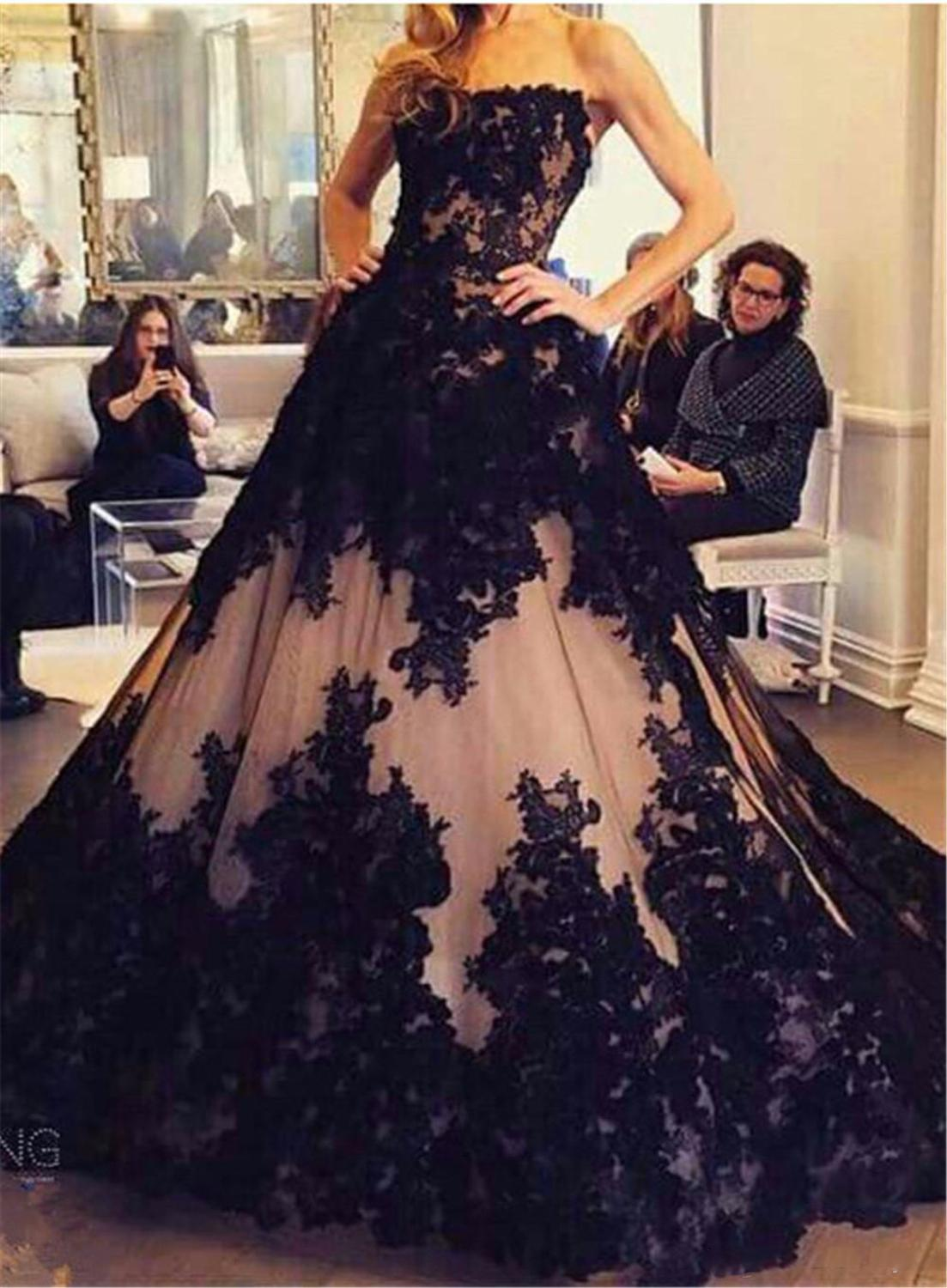 2020 Vintage Gothic Bridal Wedding Gown Plus Size Sweetheart Sweep Train Black Lace-Up Ball Gown Wedding Dress Custom Made