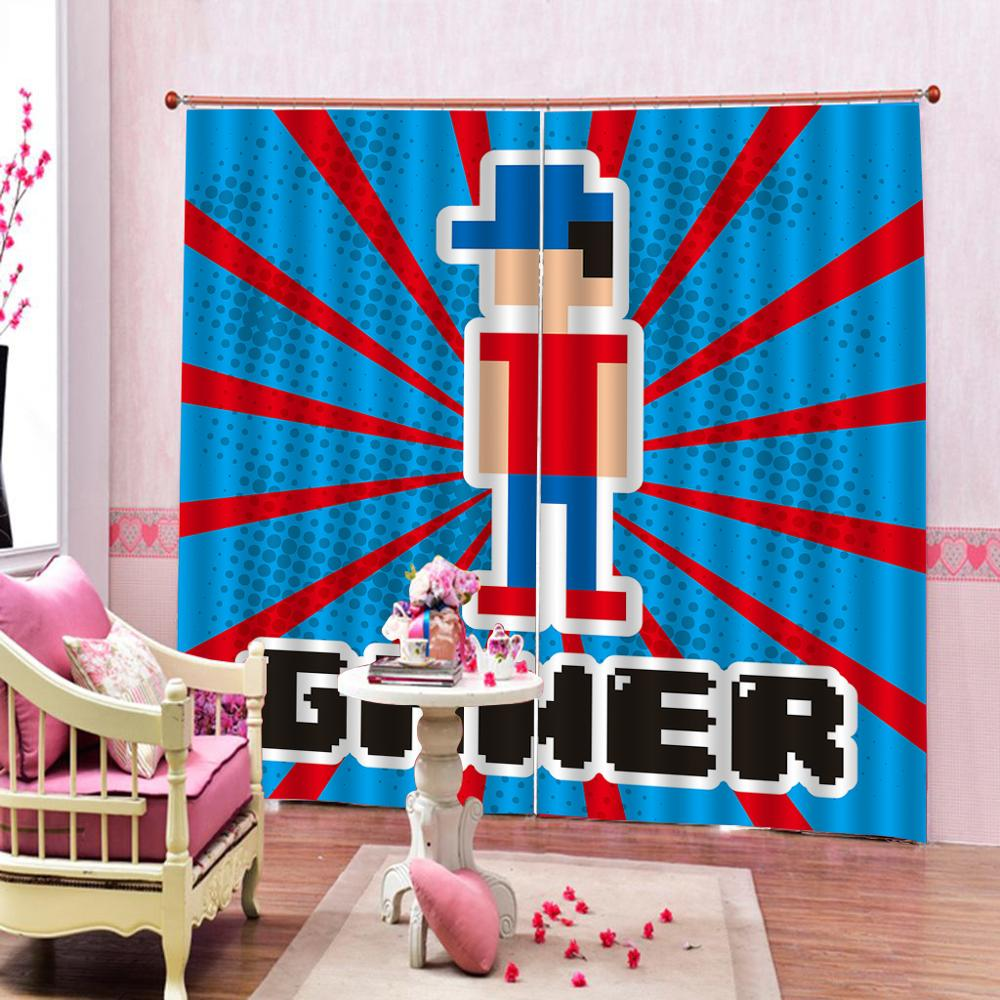 blue game curtains Luxury Blackout 3D Window Curtains For Living Room Bedroom Customized size stereoscopic curtains