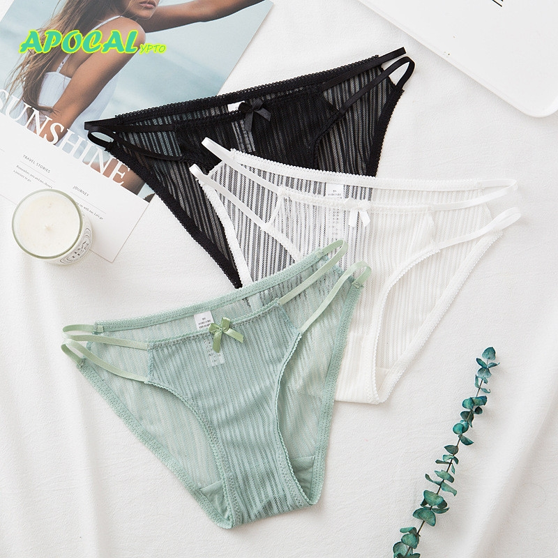 APOCAL Screw Thread Lace Panties Sexy Transparent Hollow Tangas Womens High Cut Lingerie female Underwear Women